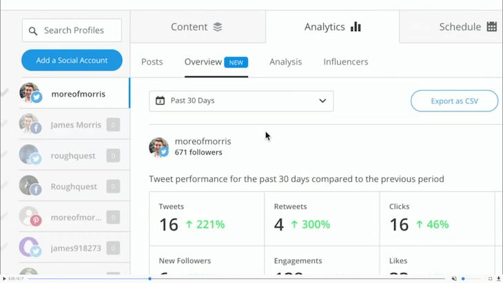 L'interface de gestion des comptes sociaux de Buffer