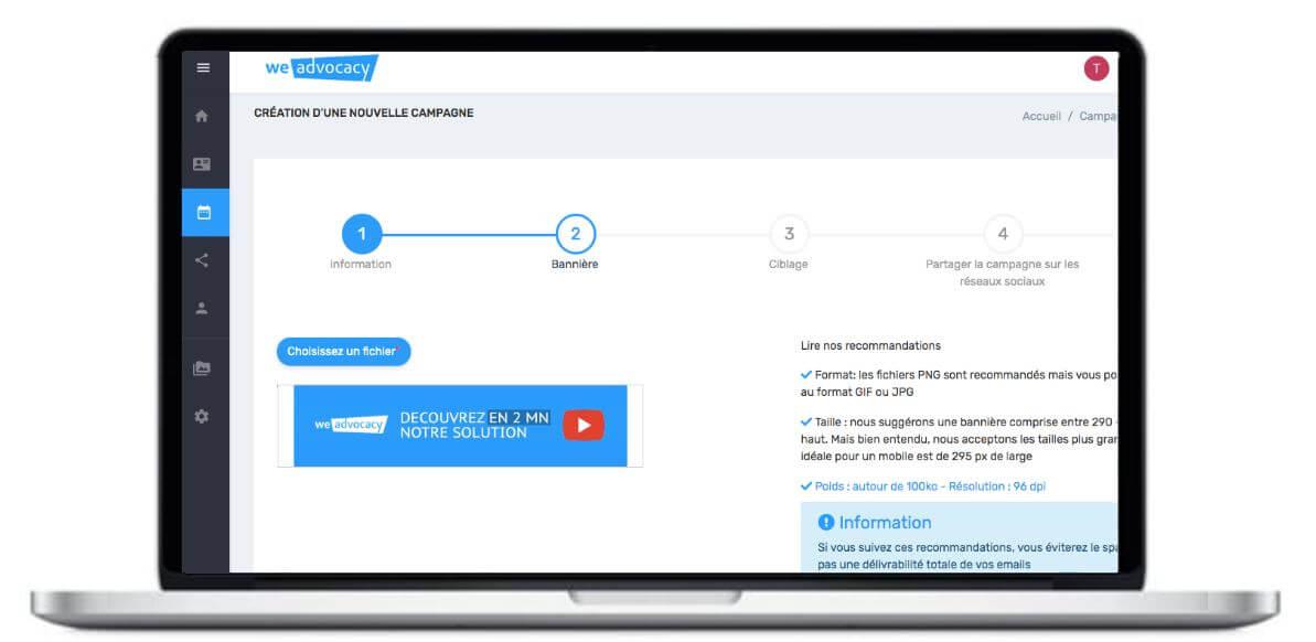 Pour la création des campagnes, l'outil dispose d'une interface intuitive permettant de créer, administrer et planifier une campagne en quelques minutes.