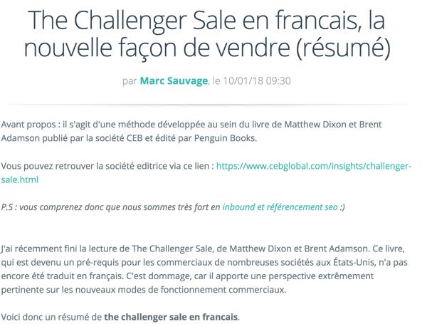 The Challenger sale la nouvelle façon de vendre
