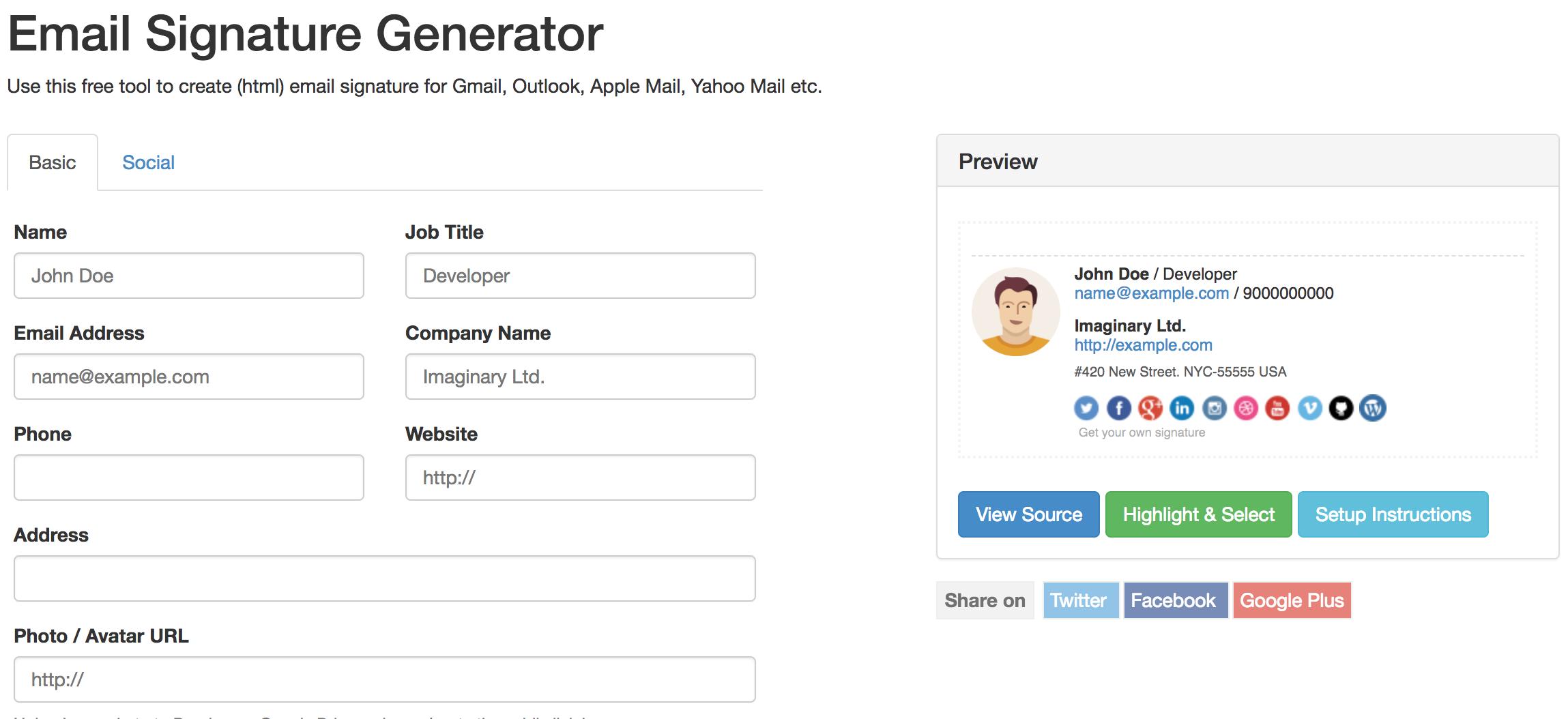Signature Maker est un générateur de signature mail gratuit