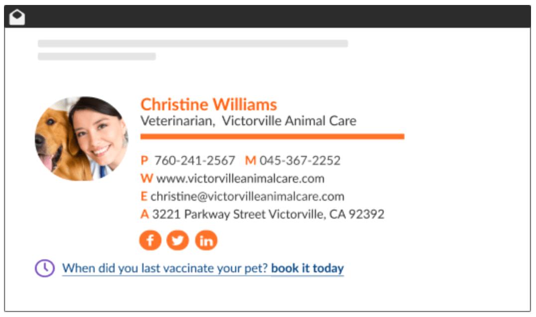 Exemple de signature mail par WiseStamp