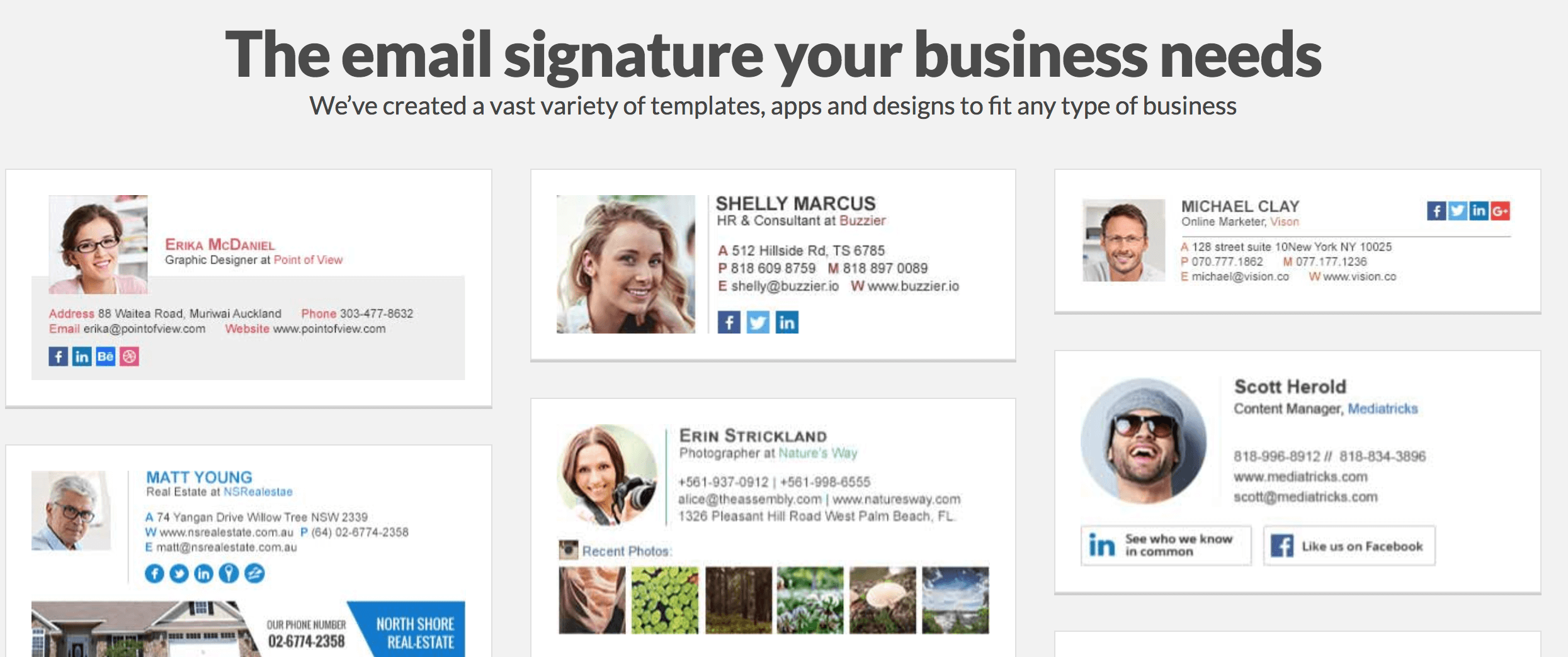WiseStamp possède une multitude de modèles pour générer des signatures mails