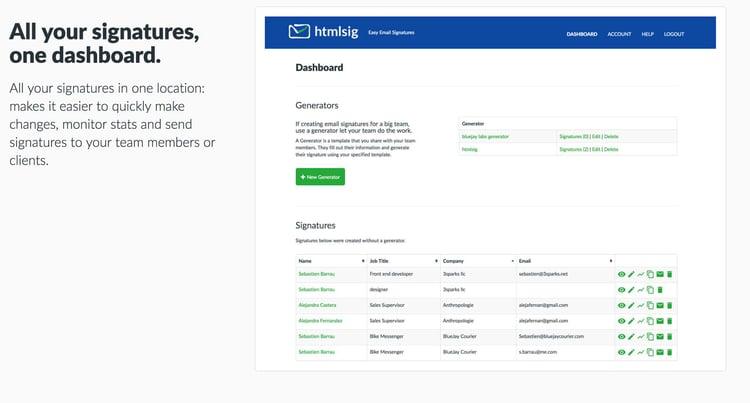 Le tableau de bord de htmlsig permet de gérer les signatures mails de vos équipes