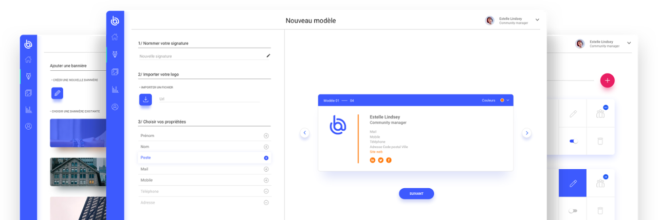 L'interface de création de signature Boostmymail