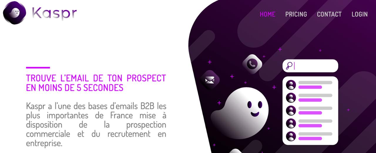 Kaspr permet de trouver l'email de vos prospects en quelques clics