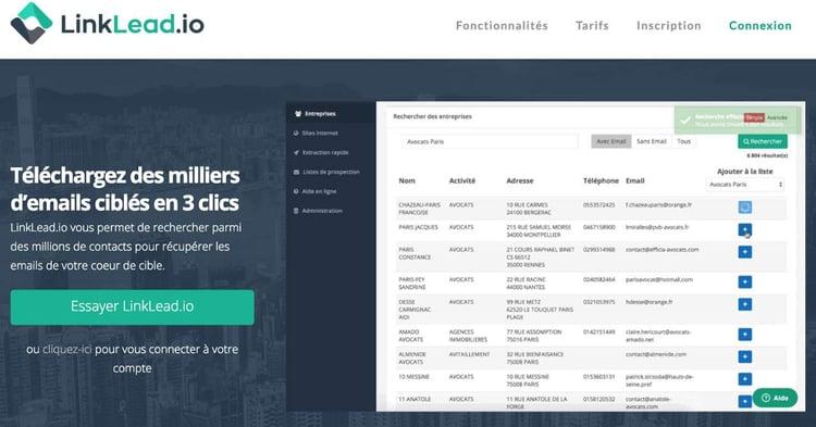 LinkLead.io permet de trouver des clients en récupérant les emails